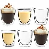 6x Doppelwandiges Espressoglas 80ml Espresso-tasse aus Glas Espresso-gläser von Dimono