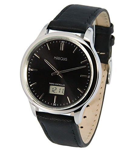 MARQUIS Herren Funkuhr, Schwarzes Lederarmband, Edelstahlgehäuse, Armbanduhr, Junghans-Uhrwerk 964.4803