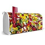 BANJADO US Mailbox/Amerikanischer Briefkasten 51x22x17cm / Letterbox Stahl weiß/mit Motiv Gummibaerchen, Briefkasten:mit silbernem Standfuß