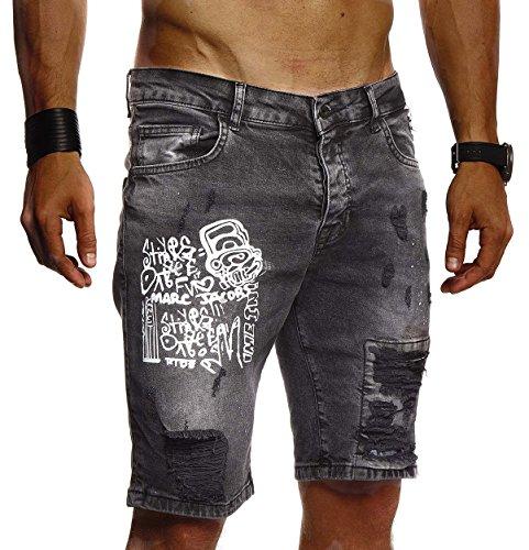 LEIF NELSON Herren Männer Jungen Sommer kurze Biker Jogger Jeans Hose Shorts Jeanshose Chinos Cargo Bermuda Basic 5-pocket Destroyed used Stretch Freizeithose Denim Slim Fit LN1977; W29; Schwarz