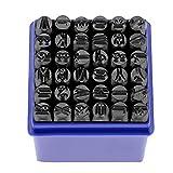 Schriftart Metallstempel Set, Zahlen und Buchstaben Punch Set 6mm Kohlenstoffstahl Anzahl Großbuchstaben Stempel Punch Set für Metall Holz Leder 36 Stück