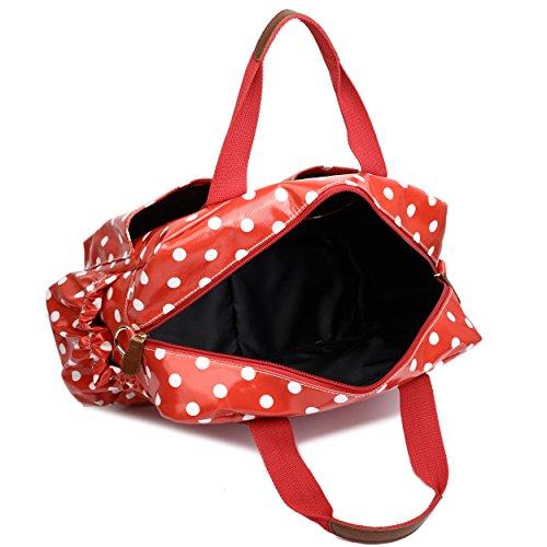 Miss Lulu, 4-teiliges Wickeltaschenset, mattes Wachstuch, geblümt und gepunktet oder andere Motive (schottischer Terrier, Schmetterlinge, Katzen, Elefanten), beige - Cat Beige - Größe: L 1501D2 Rot