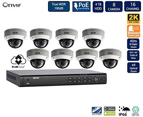 Flir Digimerge IP Security Kamera Sytem mit Dnr400P Serie 2 Festplatteneinschübe Nvr und Quad-HD-Motor 4 Mp (2K) Vandal-Resistant-Dome-Kamera (8-Dome-Kameras mit 16-Kanal-4Tb NVR) Nvr-serie