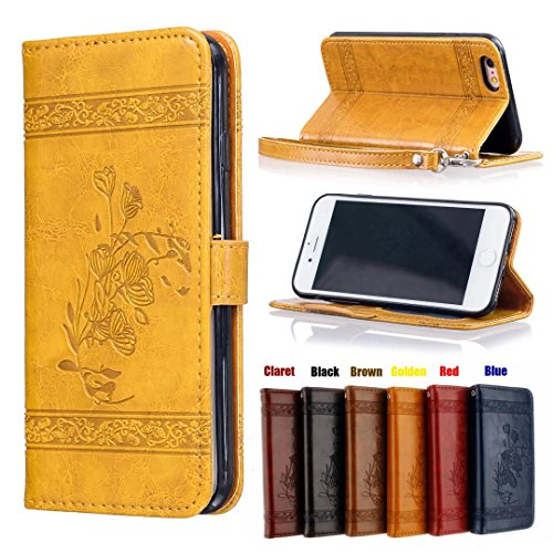 YOUNGE iPhone 6/6s Case, [2 in 1] The latest Vintage British Rural Style Oil wax Lines Strong Magnet Fancy TPU Leather of Outer and Open Hair Real Leather of Inner with Embossing Pattern Folio Flip Standing Wallet Case Cover for iPhone 6/6s 4.7 Inch