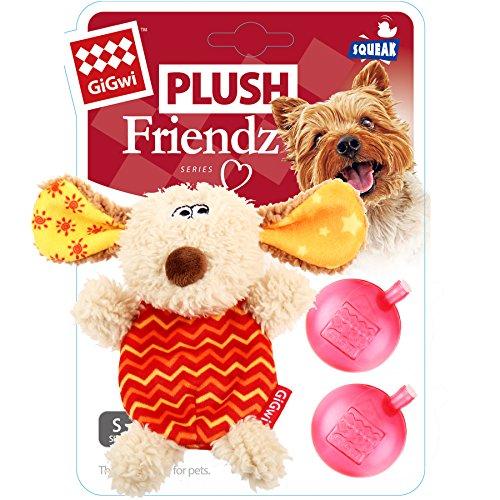 GiGwi 6222 Hundespielzeug Plush Friendz Hund aus Plüsch mit austauschbarem Quietscher, für kleine Hunde, beige / rot - 5