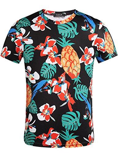 SSLR-Camiseta-Hawaiana-Hombre-Manga-Corta-Funny-Aloha-Tropical-Flores-y-Pia-Small-Negro