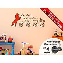 Wandtattoo Tattoo Garderobe inkl. 4 Haken für Kinderzimmer Wunschname Reitsachen (112x45cm // 074 mittelgrau)