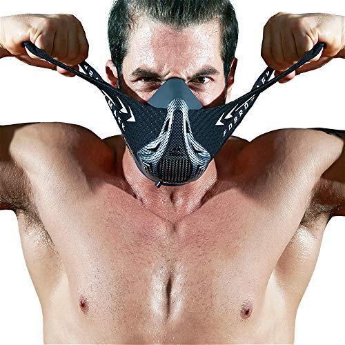 FDBRO Máscaras máscaras de Deportes, Estilo Negro, máscara;scara para Entrenamiento y acondicionamiento de Gran altitud, máscara scara Deportiva 2.0 (Fibra de Carbono, Small(<70kg))