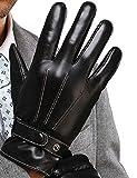 Ducomi® Boss - Guanti Touch Screen per Smartphone e Tablet in Ecopelle - Velluto Interno - Unisex - Guanti per Moto o Bicicletta - Idea di Regalo di Natale Originale per Lui e per Lei (Guanti)