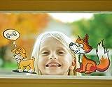 Fenstersticker No.81 Fuchs und Hündchen tier fuchs hund kinder comic Fenstersticker Fensterfolie Fenstertattoo Fensterbild Fenster-Deko Fensteraufkleber Fensterdekoration Glas-Sticker Größe: 144cm x 224cm
