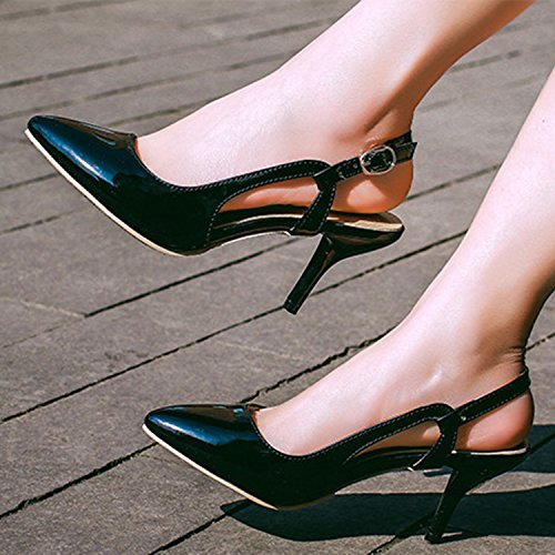 Azbro Women's Pointed Toe Slingback Stiletto Heels Sandals Black