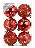 6 Stk. PVC Christbaumkugeln 8cm ( rot ) // Ornament Dekor Kunststoff bruchfest Dekokugeln Weihnachtskugeln Baumkugeln Baumschmuck Set Christbaumschmuck Weihnachtsschmuck 80mm