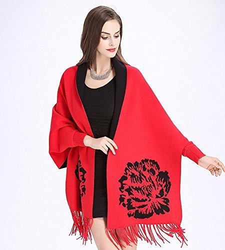 La nappa di jacquard di modo delle donne ha lavorato a maglia il rivestimento dello scialle del cardigan 175cm o più 5