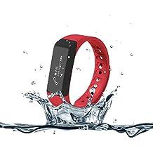 Surwin i5Plus Fitness Tracker pulsera inteligente actividad Muñequera impermeable con podómetro Seguimiento de calorías Salud Monitor de descanso para iPhone Android 4.3/4.4/4,5/5.0/5.1 Rojo rosso