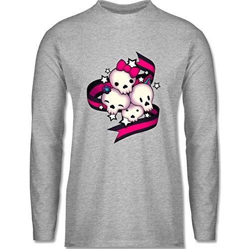 Shirtracer Statement Shirts - Cute Skulls - Herren Langarmshirt Grau Meliert