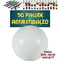 Calcio Balilla set 50 Palline bianche Antirimbalzo in polietilene prima scelta, O mm.34, peso 17gr.