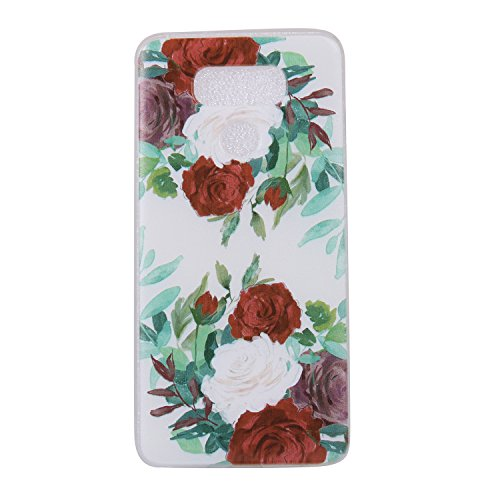 Cozy Hut LG G6 Hülle, Anti-Fingerabdruck, Anti-Scratch FeinMatt FederLeicht Hülle Bumper Cover Schutz Tasche Schale Softcase für LG G6 - Rote und weiße Rose