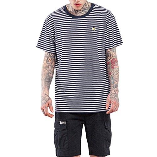 Honghu Herren Crew Neck Streifen T-Shirt Schwarz