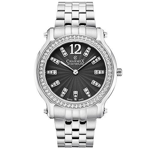 Charmex Women's Eze 31.5mm Steel Bracelet & Case Quartz Black Dial Watch 6356