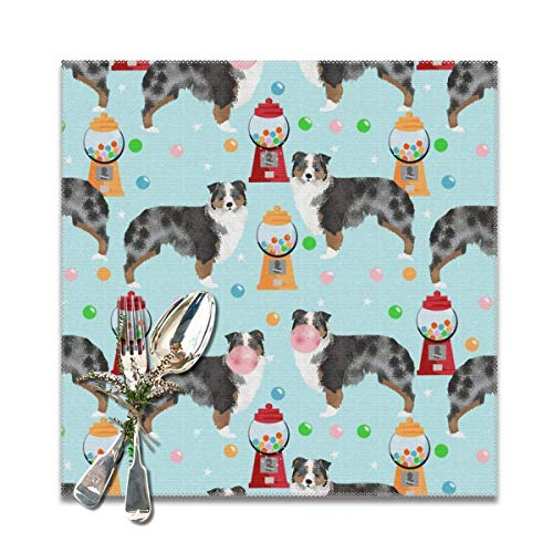Hectwya Australian Shepherd Bubble Gum Cute Dogs and Candy Design Washable Tischsets for Dining Table Double Fabric Printing Cotton Place Mats for Kitchen Table Set of 6 Table Mat 12