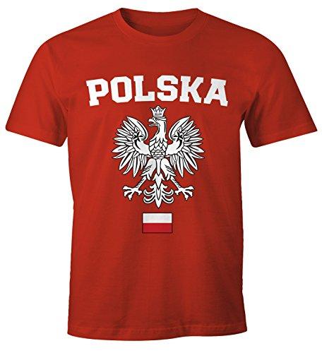 MoonWorks Herren T-Shirt Fußball WM Polska Polen Poland Flagge Weißer Adler Rot-Weiß XXL