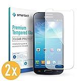 smartect 2X Protector de Pantalla de Cristal Templado para Samsung Galaxy S4 Mini Lámina Protectora Ultrafina de 0,3mm | Vidrio Robusto con Dureza 9H y Antihuellas Dactilares