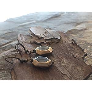 ★ ALTES TRANSPARENTES GLAS ★ zarte bronze vintage Ohrringe