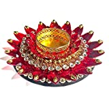 #5: KRIWIN Exquisite Hand Crafted Festive Decor Floating Diya/Tealight Candle Holder (Red Stones)