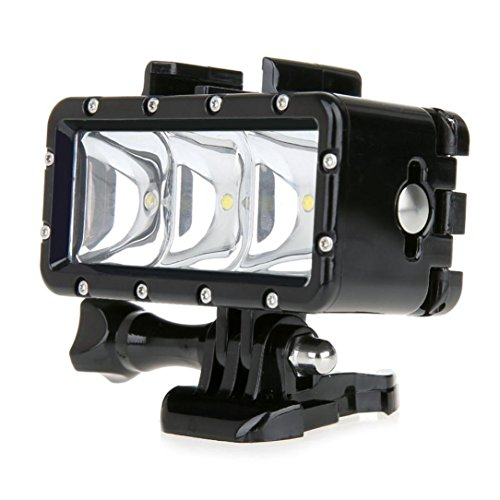 Fulltime® LED Tauchen 30 m wasserdicht Dimmbare Videoleuchte mit Mount Kit für GoPro Hero 4 3 + 3 2 1 Sport-Kameras, 5500K-6000K 300-Lumen, 3 LED, Ohne Kleinpaket (Gopro Hero 3 Dive)