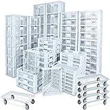 78 Stück Stapelkörbe/Bäckerkästen in 5 Größen, Grundmaß LxB 600 x 400 mm, H 90 mm, 150 mm, 240 mm, 320 mm, 410 mm, Farbe weiß + 5x Transportroller, weiß