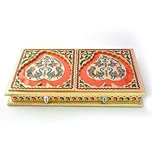 Little India Golden Meenakari Dancing Peacock Pair Dryfruit Box (433, Gold)