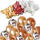 Onepine 55pcs 12inch Champagner Gold Farbe & Rose Gold Latex Luftballons & Rose Gold Konfetti Ballon für Weihnachtsdekoration, Geburtstag Hochzeit Dekorationen