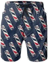 XUJ YOGA - Pantalones Cortos de Playa para Hombre, diseño de Bandera de barbero,