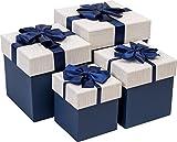 Emartbuy Set Mit 4 Starren Luxus Quatratische Präsentation Geschenkbox, Dark Blue Box Mit Gestreiften Beige Deckel, Braunen Interieur Und Blau Satin Dekoratives Schleifenband