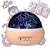 NEUESTE Nachtlicht für Mädchen, Einhorn Projektor, Fantasy, 4 LED Lampen 8 Modi Lampe und Rotation, Lauf Einhörner und einige Diamanten, Sterne Projektor für Kinderzimmer und Party