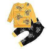 CHENGYANG Abbigliamento Bambini Stampate Maglietta Cotone T Shirt Manica lunga e Pantaloni Lunghi 80