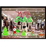 Fenverk FröHliche Weihnachten Haushalt Zimmer Wand Aufkleber WandgemäLde Dekor Abziehbild Entfernbar DIY Weihnachtsmann Claus Baum Fenster Zuhause Dekoration Schneemann Rentier 70 * 50CM(F)