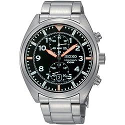 Seiko Men's Quartz Watch with Black Dial Chronograph Display and Stainless Steel Bracelet SNN235P1