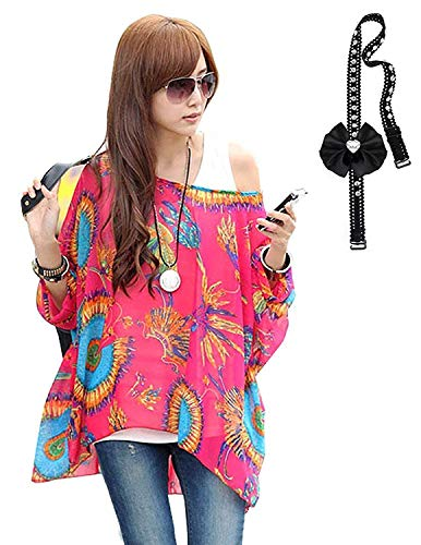 Sitengle Damen Sommer Böhmische Flügel Ärmel Chiffon Kurzarm Strand Beiläufige Shirt Bat Sleeve Lose Hemd T shirt Bluse Tops Rot One Size (Flower Power Kostüm Damen)