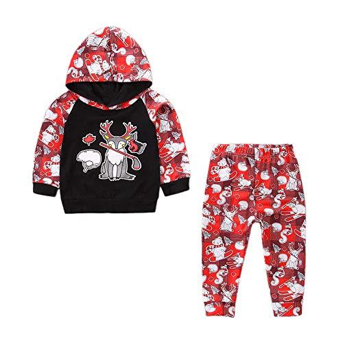 2 STÜCKE Weihnachten Kleinkind Baby Jungen Mädchen Cartoon Outfits Neugeborenen Kinder Unisex Weihnachten Langarm Tops + Hosen Outfit Set Weihnachten Set Für Baby Von ()