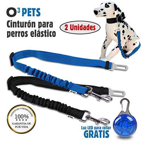 O³ PETS Cinturon Perro Coche Homologado 2 Unidades Elásticos con Luz LED...