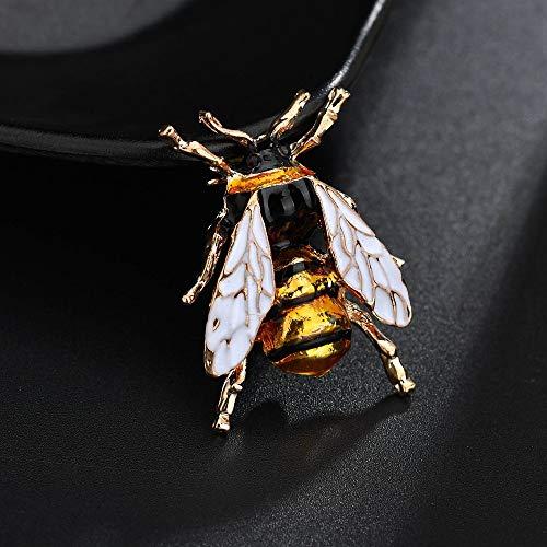 LFDHZ Insekt Broschen Bumble Bee Brosche Gelb Grün Weiß Emaille Pins Tier Anstecknadel Frauen Anzug Zubehör Weiß