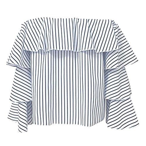 Chemisier femme, Transer ® Femmes sexy Long manchon épaule T Shirt rayé Blouse Casual Blanc