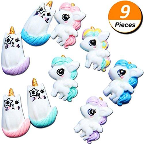 Mcree - 9 abalorios de unicornio para gato de resina con parte trasera plana, ultradelgada, color caramelo, silicona para decoración de teléfono, decoración casera, manualidades, para adornos, álbumes de recortes, manualidades