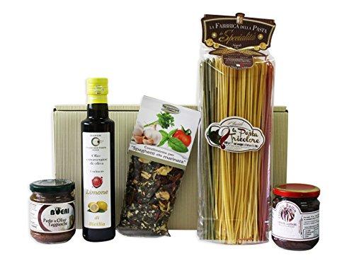 Geschenkset Italienische Geschenkkorb TRICOLORE Italienreise mit ausgesuchten italienischen Feinkost Spezialitäten