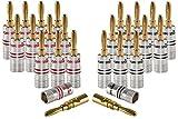 Poppstar 24x Bananenstecker, Bananas für Lautsprecherkabel (bis 6 mm²), AV Receiver, 24k vergoldet (12x schwarz, 12x rot)