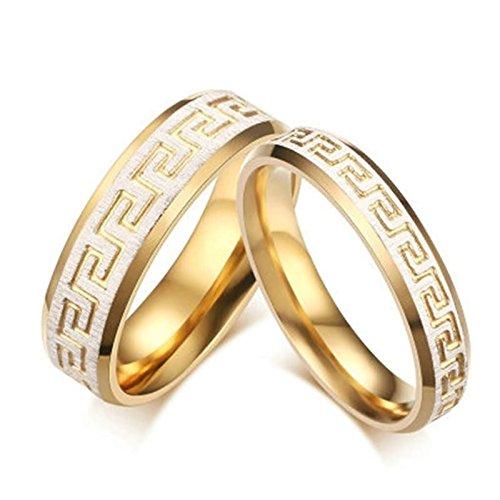 Bishilin Mode Damen-Ring Herren-Ring Edelstahl AAA Brillant Kristall Hochglanzpoliert Matte Fertig Paarring Gold Ringe women\'s size 4&Herren Größe 62 (19.7)