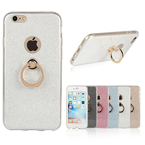 iPhone 6 Plus Etui Coque, SHANGRUN 2 in 1 Scintillement Bling TPU Gel Silicone Etui Coque 360 Degres Rotating Métal Bague Ring Stand Holder Cover Coque avec Béquille Housse Étui pour iPhone 6 / 6S Plu Blanc