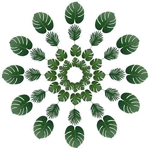 48PCS 2Arten Künstliche Palmwedel, Fake Tropischen Blättern für Party Dekorationen, Hawaii Party, Hochzeit (grün) ()