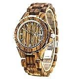 BEWELL Holz Armbanduhr mit dem Kalender wasserdichter Quarz Movement Round Dial Light Retro Fashion Uhren für Damen (Frauen, Zebra Wood)